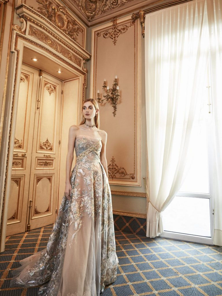 strapless ball gown baby pink blue golden with train