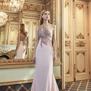 pastel pink mermaid rhinestone gown